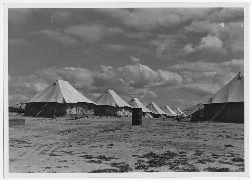 A picture from 1945 of a camp for Greek refugees in Nuseirat, southern Palestine