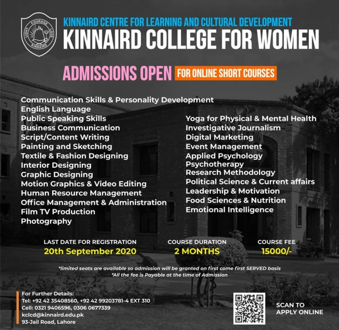 Kinnaird College for Women Lahore Admission Open 2020