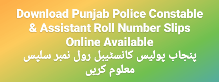CTS Punjab Police Constable & Assistant Roll Number Slips 2020