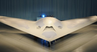 Boeing's Phantom Ray unmanned combat air vehicle, unveiled May 10.//Boeing photo