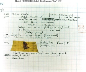 "The famous first ""computer bug,"" found by Grace Hopper. (Navy photo)"