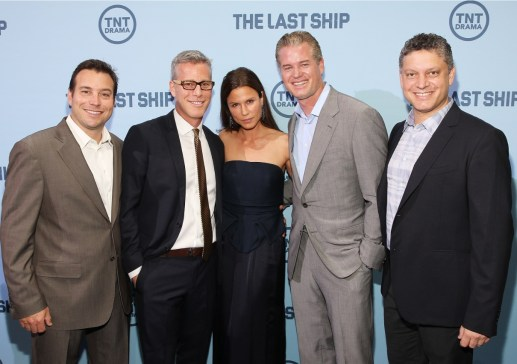 (From left to right) Producers Hank Steinberg and Brad Fuller, actors Rhona Mitra and Eric Dane, and  producer Steve Kane at The Last Ship's premiere June 4 in Washington, D.C.