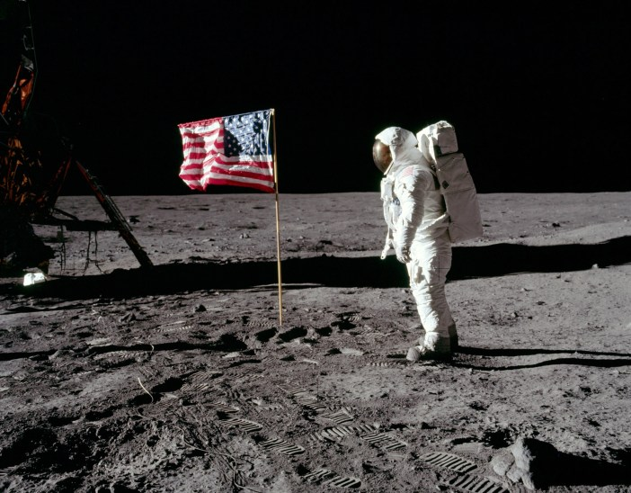 Neil Armstrong with the American Flag on the moon on July 20, 1969. (Credit: NASA)