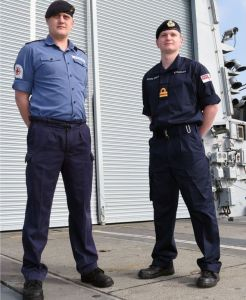 Royal navy uniforms side by side