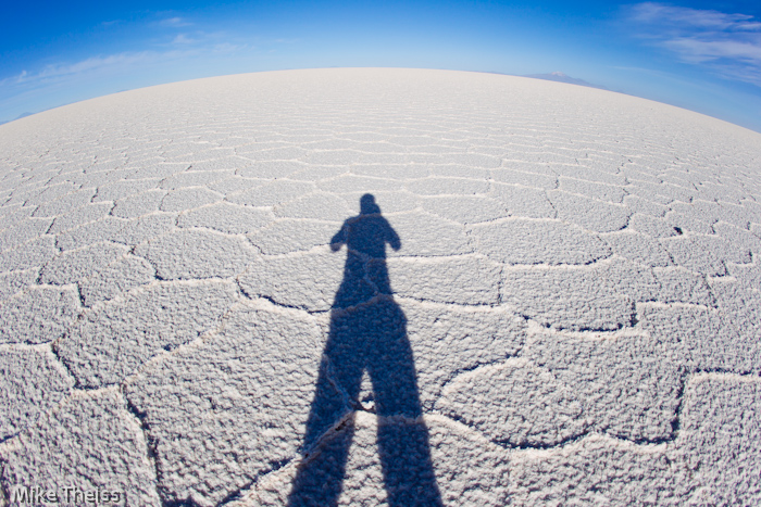 Long shadows at Salar de Uyuni, Bolivia - World's Largest Salt Flats