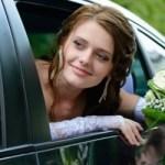 bride in a car