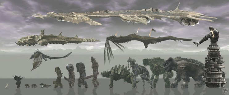 Size chart of the Colossi.