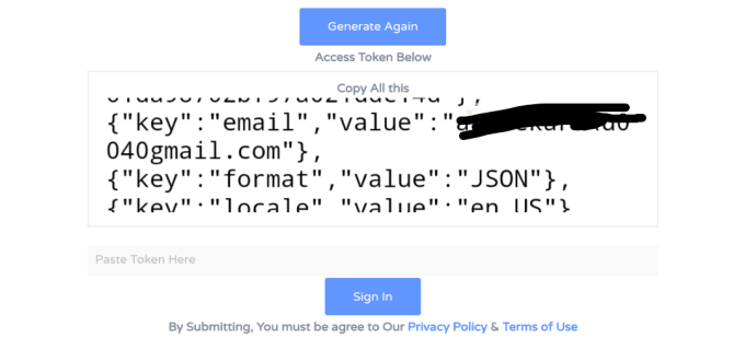 Facebook Login And Generate Token Code
