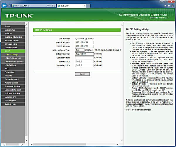 tp link archer c7 DHCP server