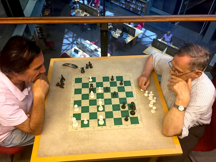 Dudes doing chess, State Library