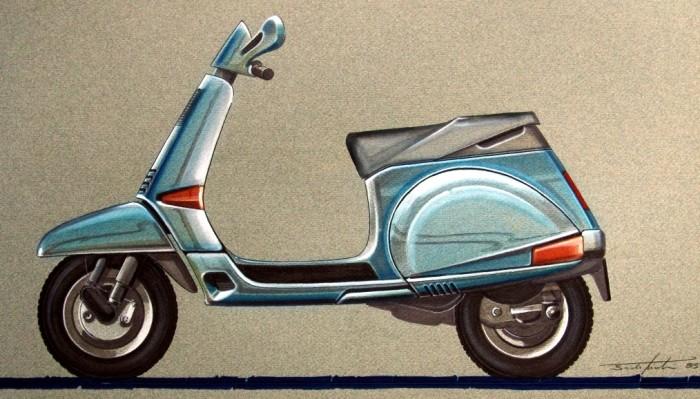 Martin's concept drawing for the Vespa Cosa.