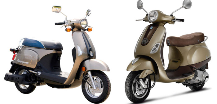 The Kymco Compagno (aka New Sento, left) and a Vespa LX.