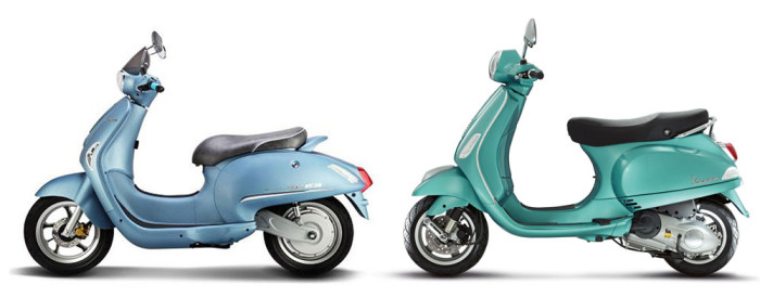 The Hyosung Eva (left) compared to the Vespa LX.