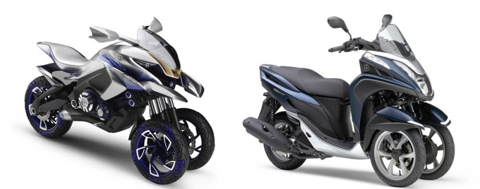 Ancestry: Yamaha's 01Gen concept (left) and the production TriCity scooter.