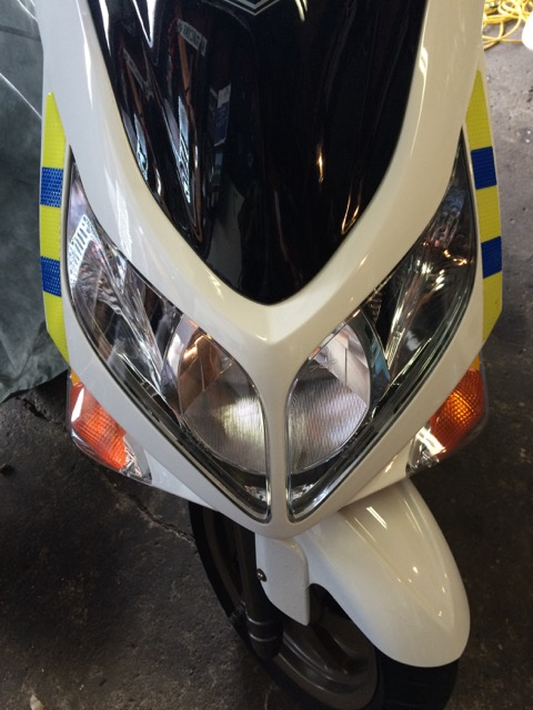 Front lighting on a modern scooter