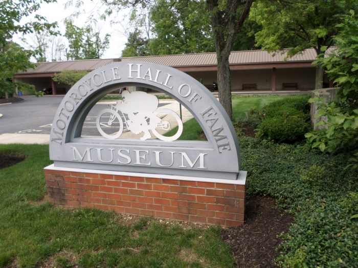The entrance to the Motorcycle Hall of Fame