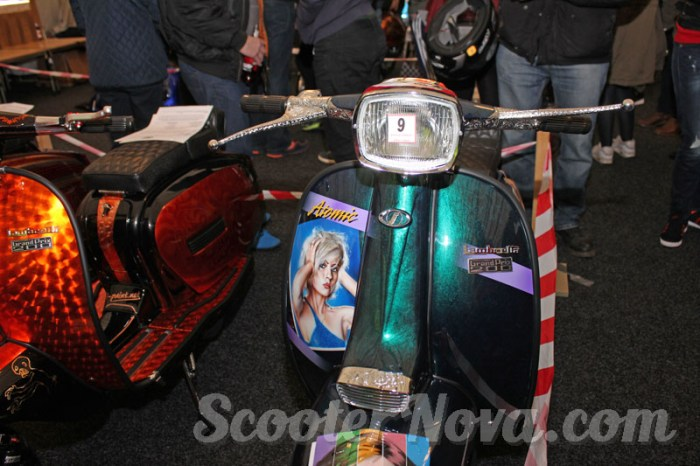 Atomic, Blondie themed Lambretta GP. Paint by Garage Artwerks, engraving by Don Blocksidge.