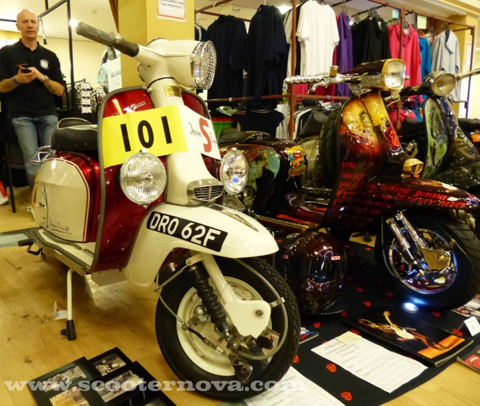 Team S-Equipe racer Norman Ronald's original Lambretta SX200 S-Type, displayed at Bridlington custom scooter show, October 2013.