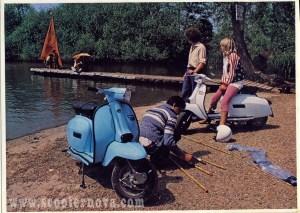 1970s Lambretta brochure featuring Mike, Paul and Jo Karslake (now Jo Wood)
