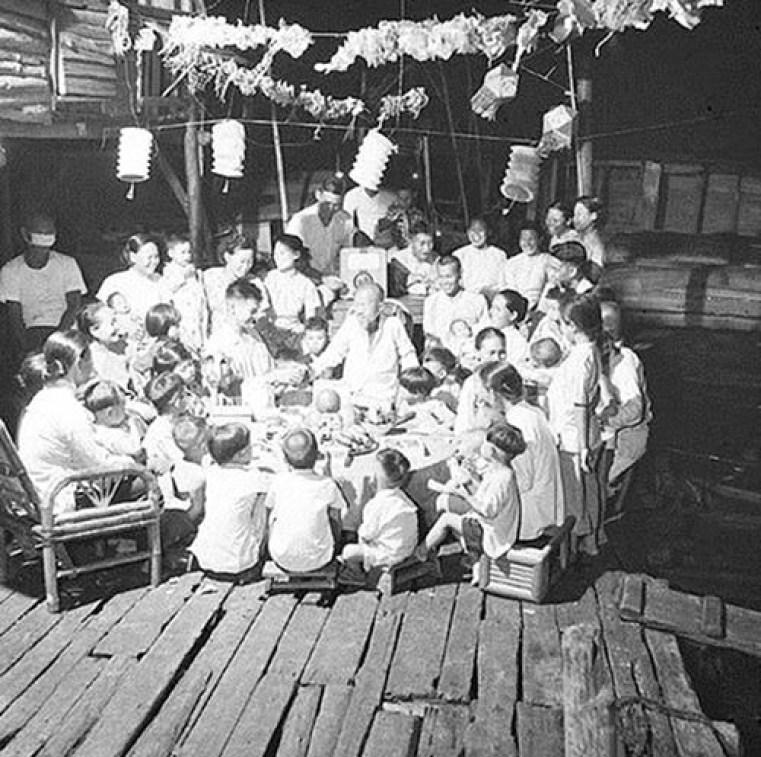 family gather at full moon festival