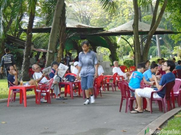 drinking coffee in Tao Dan park