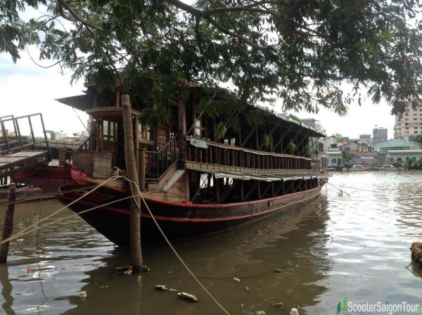 floating cafe on a wooden boat in saigon