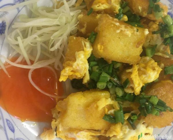 Pan Fried Scrambled Egg Rice Cake Or Bot Chien In Vietnam
