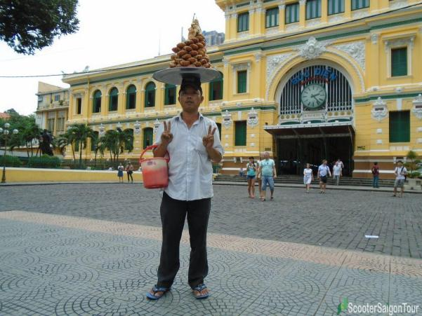 Vendor In Front Of Saigon Central Post Office Tracy