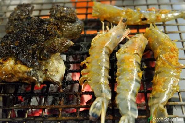 Grilled Frog And Shrimp In Vietnam