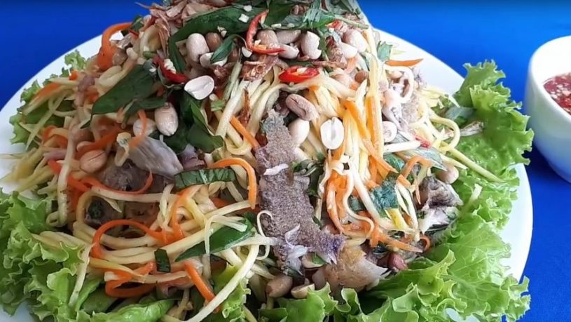 Salad With Green Mango And Dried Snakeskin Gourami