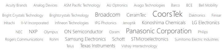 industry leaders in optoelectronics identified by Mergeflow's analytics include Panasonic, Broadcom, CoorsTek, LG, Schott, Samsung, and others.