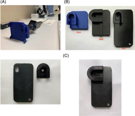 Thompson et al's 3d printed smartphone adaptor for a nasolaryngoscope.