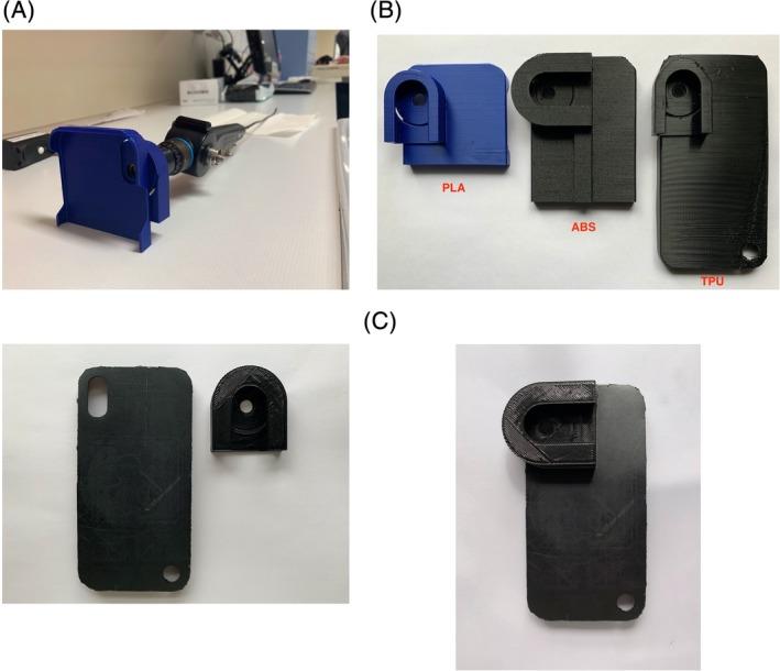 Thompson et al's 3d printed smartphone adaptor for a nasolaryngoscope.
