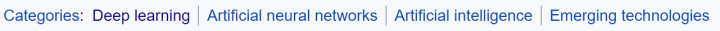 """""""Categories"""" section of the """"deep learning"""" Wikipedia page."""