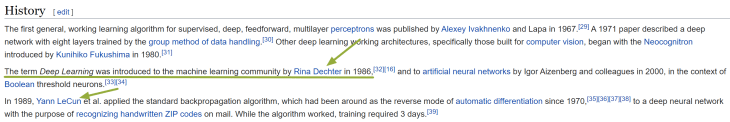 """Part of the """"history"""" section of the """"deep learning"""" Wikipedia page."""