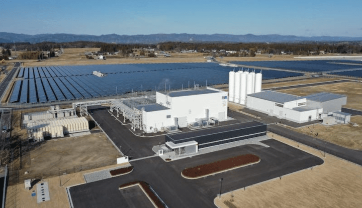 Toshiba Energy Systems' solar-powered hydrogen production facilities at Fukushima. Image from Renew Economy.