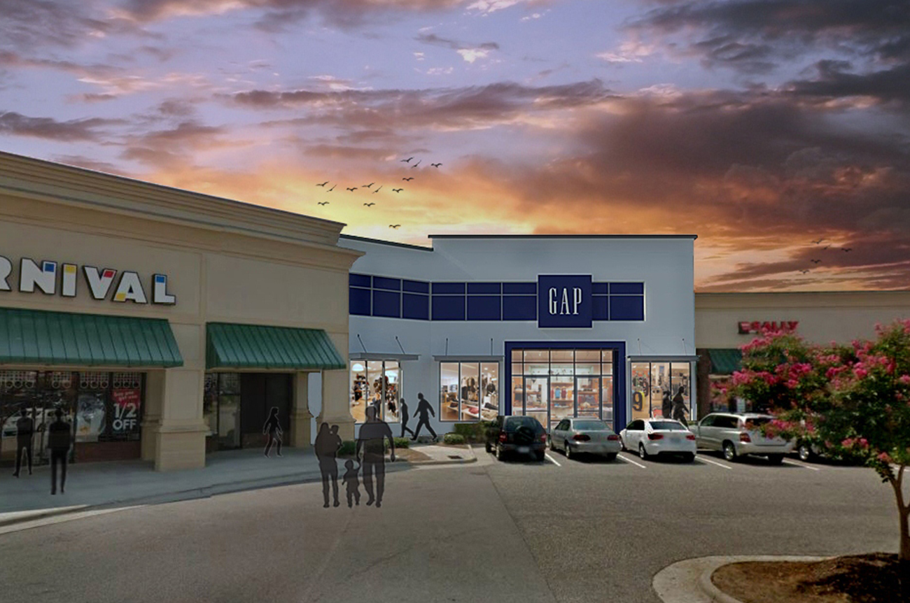 DDR Retail hired SCOPE to provide architectural services for this Gap store.