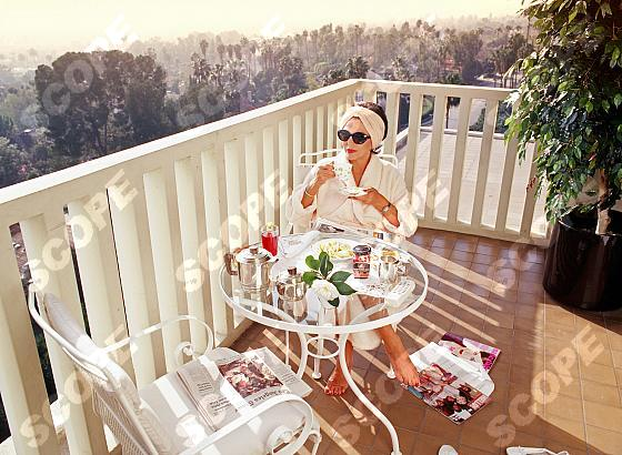 British actress JOAN COLLINS in her west Hollywood, Los Angeles, home. 2014.