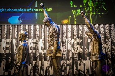 A statue at the National Museum of African American History and Culture depicts Tommie Smith (C), John Carlos (R) and Peter Norman of Australia (L) at the Mexico City 1968 Olympic Games.