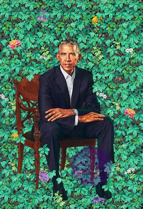Barack Obama by Kehinde Wiley / oOil on canvas, 2018 / National Portrait Gallery, Smithsonian Institution. The National Portrait Gallery is grateful to the following lead donors to the Obama portraits: Kate Capshaw and Steven Spielberg; Judith Kern and Kent Whealy; Tommie L. Pegues and Donald A. Capoccia. © 2018 Kehinde Wiley
