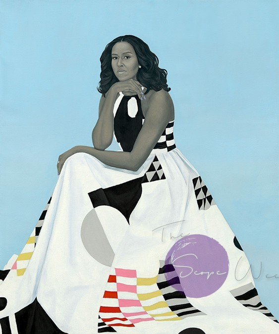 Michelle LaVaughn Robinson Obama by Amy Sherald / Oil on linen, 2018 / National Portrait Gallery, Smithsonian Institution. The National Portrait Gallery is grateful to the following lead donors to the Obama portraits: Kate Capshaw and Steven Spielberg; Judith Kern and Kent Whealy; Tommie L. Pegues and Donald A. Capoccia.
