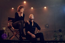 FOSSE VERDON -- Pictured: (l-r) Michelle Williams as Gwen Verdon, Sam Rockwell as Bob Fosse. CR: Pari Dukovic/FX