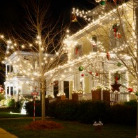 A house with Christmas lights already hung for the season.