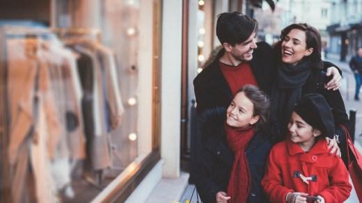 Happy family Black Friday shopping