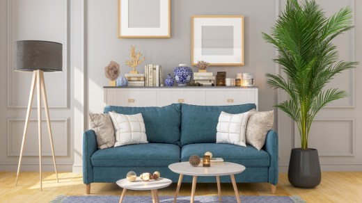 console table behind the sofa.