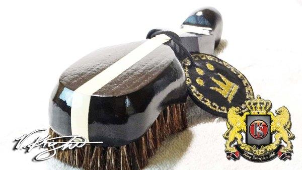 King Scorpion Colt Black Extra Soft Mixed Horse Hair 360 Wave Brush