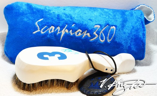 King Scorpion 360 White & Prince Blue Medium Hard Wave Brush Set