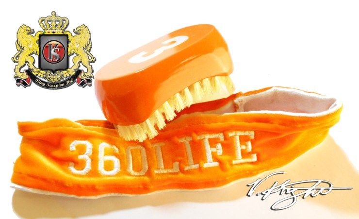 Florida Orange 540 Wave Brush & 360Life Velvet Head Band