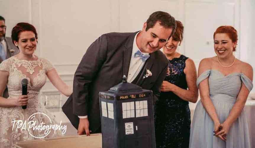 crisped rice treats, TARDIS cake, groom's cake, Dr. Who, Rice Krispy Treats, Smitten Kitchen