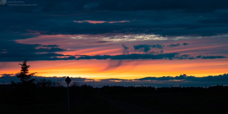 Photo of a late evening sky over the Caithness village of Scarfskerry